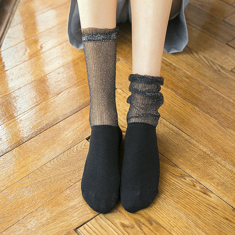 Socks Woman Cotton Mesh Stitching Fashion Retro Ladies Long Socks Breathable Socks Comfortable Solid Deodorant Socks Women's