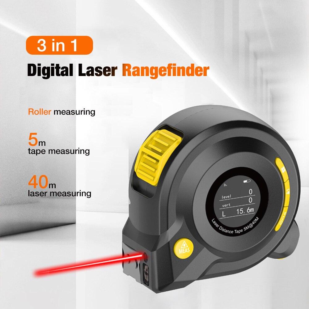 3 In 1 40m Laser-entfernungsmesser 5m Laser Maßband Gebogene Abstand Meter Digitale Herrscher Messung Mit LCD display