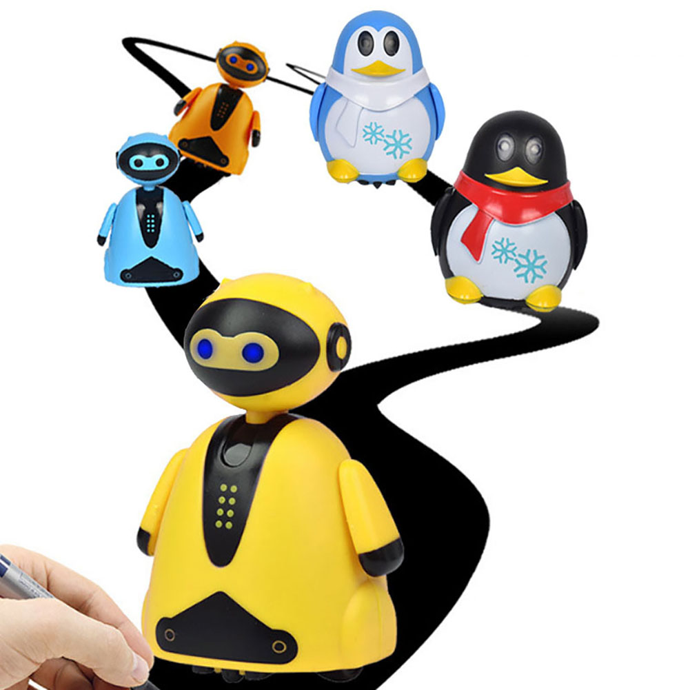 Magic Pen Toy Creative Follow Any Drawn Line Walking Inductive Robot Model Educational Penguin Design For Children Kids Toy Gift