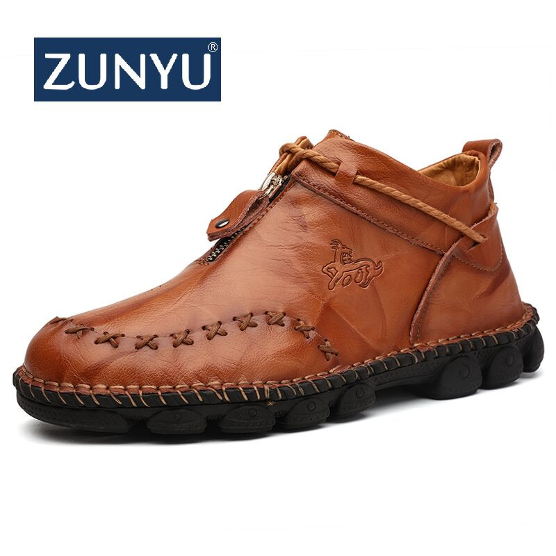 ZUNYU Autumn New Leather Men Boots Winter High Tops Man Casual Ankle Boot Comfortable Men's Snow Shoes Work Plus Size 38-48