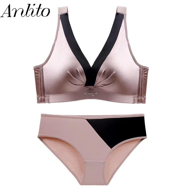 Anlito Women's Bra Panties Set Female's Comfortable Smooth Deep V No Steel Ring Lingerie and Panties Set Push-up Underwear Set