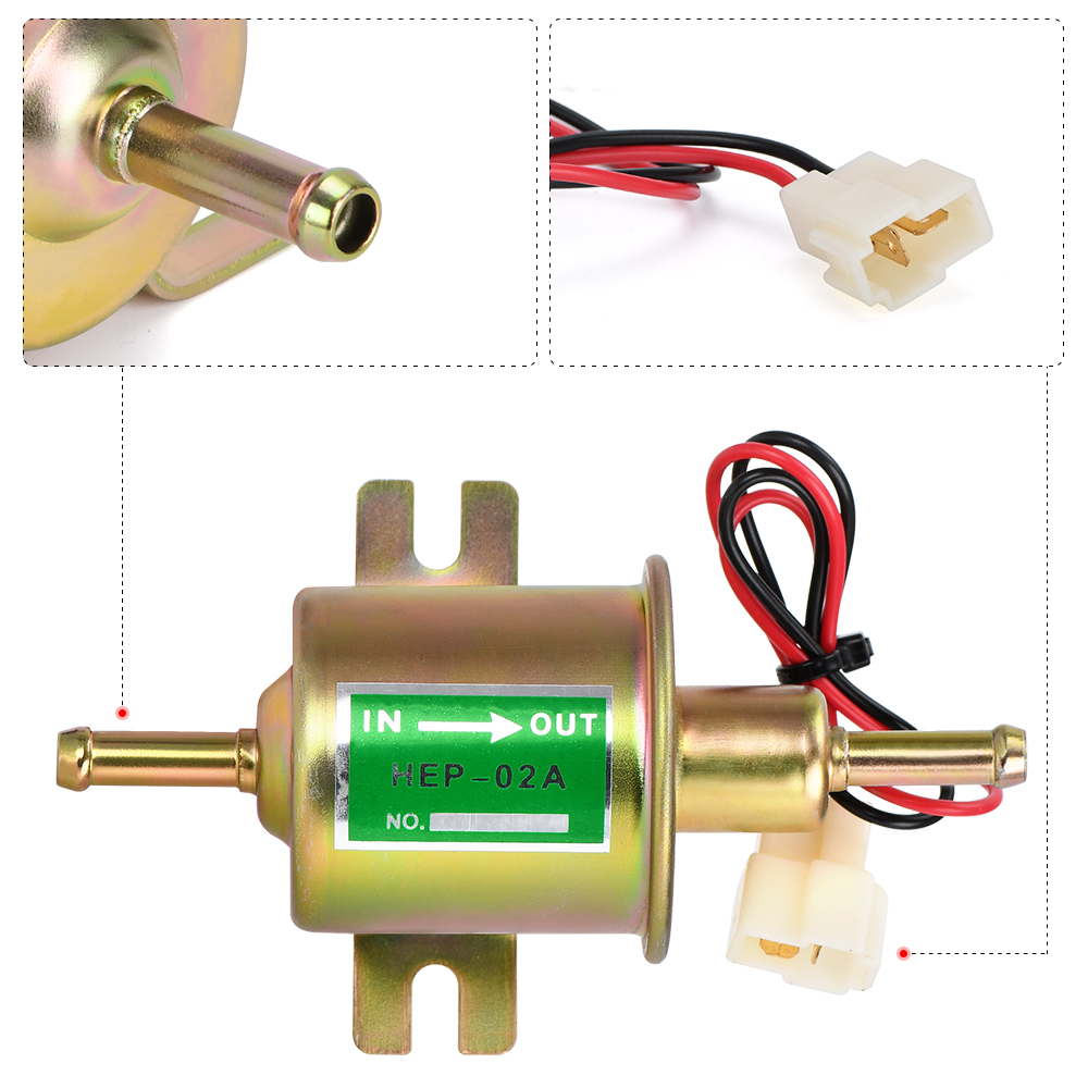 3 Colors Universal 12V Electric Fuel Pump Low Pressure Bolt Fixing Wire Diesel Petrol HEP-02A For Car Carburetor Motorcycle ATV