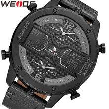 WEIDE erkek spor Analog el dijital sayısal takvim kuvars hareketi kahverengi deri kayış kol saatleri 2019 askeri saat