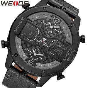 Image 1 - WEIDE mens Sports Analog Hands Digital numeral Calendar Quartz movement Brown Leather Strap Wristwatches 2019 Military Clock