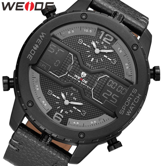 WEIDE mens Sports Analog Hands Digital numeral Calendar Quartz movement Brown Leather Strap Wristwatches 2019 Military Clock