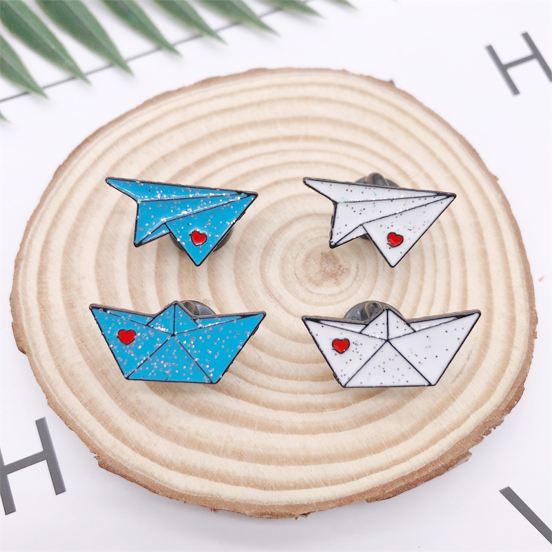 Cartoon Fun Love Airplane Boat White Blue Enamel Brooch Alloy Badge Denim Clothes Bag Pin Cute Sweet Woman Jewelry Gift image