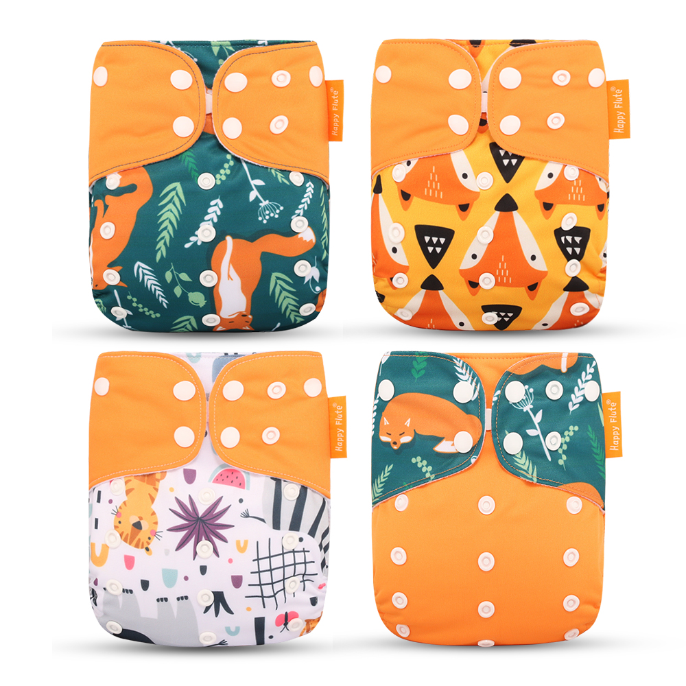 Happyflute 2019 New Fashion Style Baby Nappy 4pcs/set Diaper Cover Waterproof & Reusable Cloth Diaper