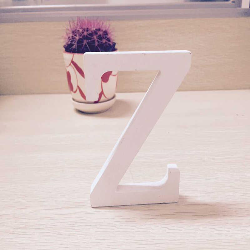 לבן עץ מכתב אנגלית אלפבית DIY אישית שם עיצוב אמנות קרפט משלוח עומד לב חתונת בית תפאורה