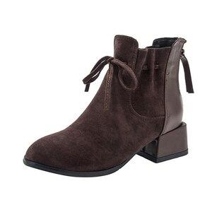 Image 2 - JIANBUDAN الخريف الشتاء المألوف المرأة حذاء من الجلد المدبوغ الراحة تشيلسي الأحذية أفخم الدافئة مكتب الإناث عالية الكعب 34 42