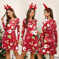 Women's Xmas Dress Snowman Snow Reindeer Long Sleeve Christmas Party A-Line Mini Dress Plus Size S-3XL 3