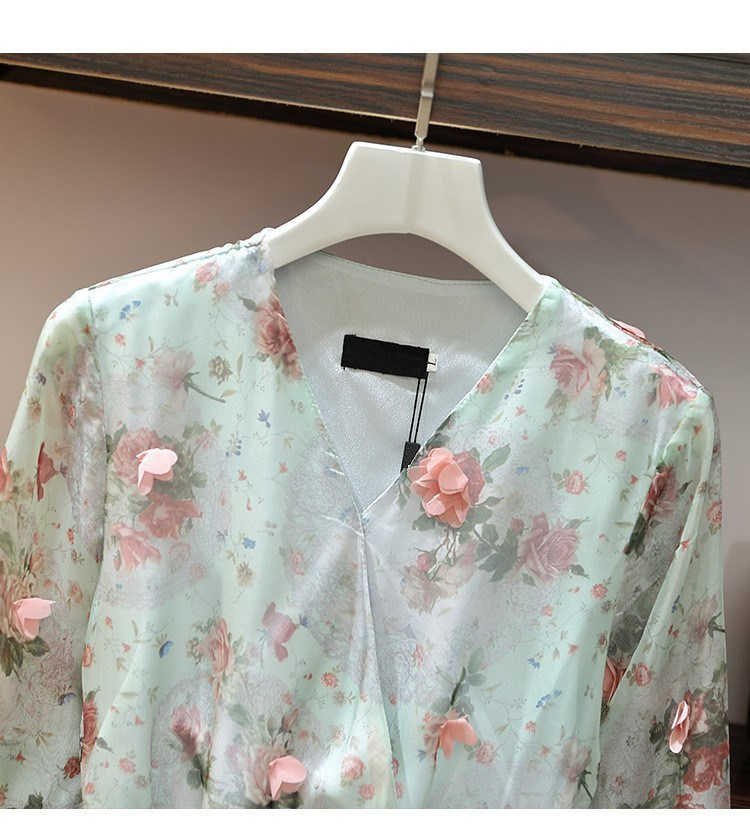 Women V-Neck Floral Appliques Chiffon Dress 2019 Summer Flare Sleeve Belt Flower Print Dress Empire Plus Size Mini Dresses 61
