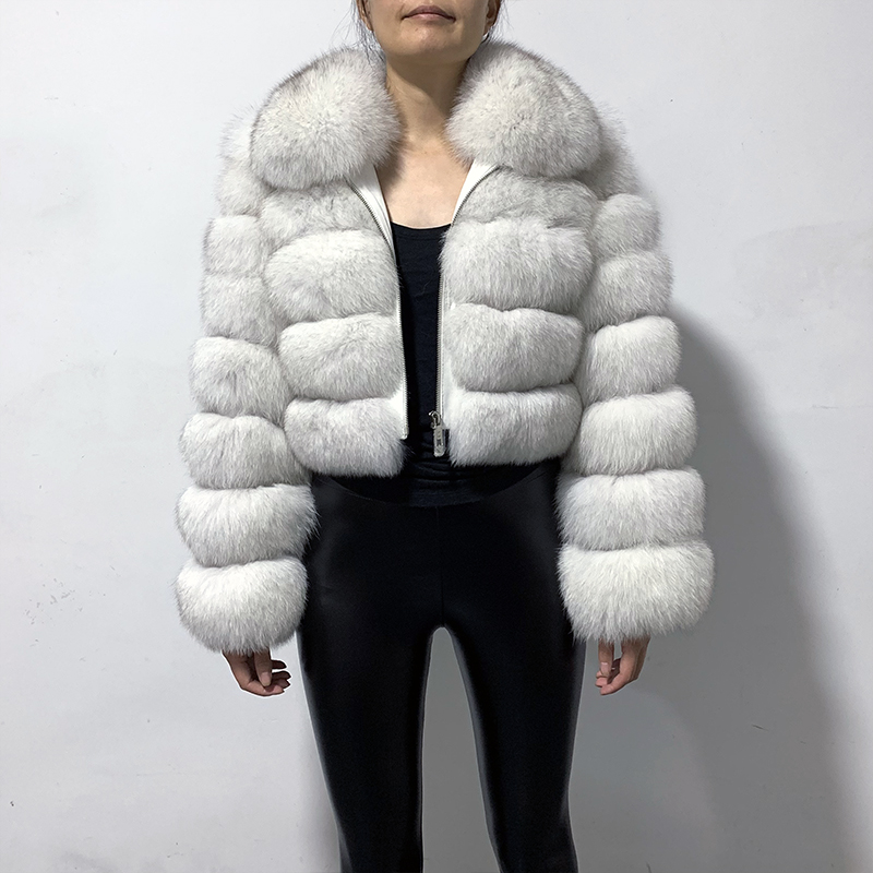 Rf1982 New Arrival Woman's Real Fox Fur Coat Short Style Slim Fit Zipper Fashion Real Fur Jacket
