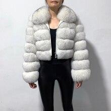 rf1982 New Arrival Woman's Real Fox Fur Coat Short Style Sli