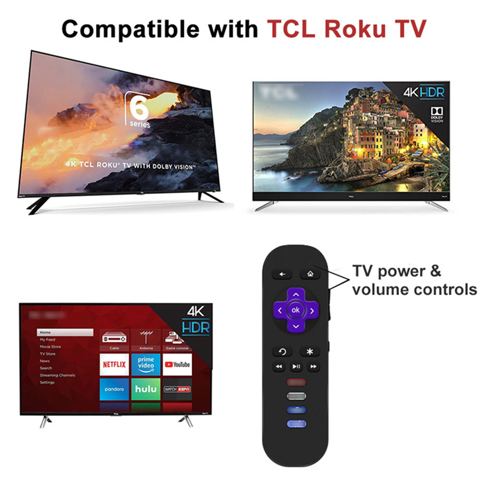 TV Remote Control For TCL For ROKU TV Replacement Controller Easy Operation For Most TCL TV And For Most Roku TV With SideButton image