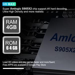 Image 2 - V8 Max akıllı Android 8.1 TV kutusu 4GB RAM 32GB 64GB Amlogic S905X2 LPDDR3 Wifi kablosuz Set top Box 4K HD YouTube 2GB16G Ott TVBox