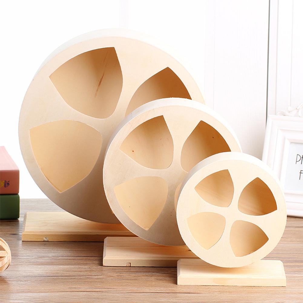 HobbyLane Wooden Silent Pet Exercise Running Wheel Toy For Golden Hamster Hedgehog Chinchilla