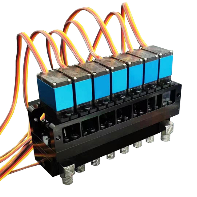 7CH Directional Valve Hydraulic Oil Valve Controller With Servo for 1/12 RC Excavator Bulldozer Parts