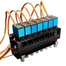 7CH Richtungs Ventil Hydraulische Öl Ventil Controller Mit Servo für 1/12 RC Bagger Bulldozer Teile