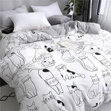 新しい漫画猫寝具セット綿かわいい布団寝具セット女性ガール王ツインクイーンサイズのベッドシーツと枕カバー