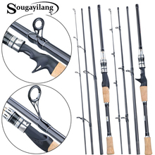 Sougayilang  Carbon Spinning Casting Fishing Rods with 24 Ton Carbon Fiber Latest Serpentine Reel Seat Ultra Light Pesca Pole