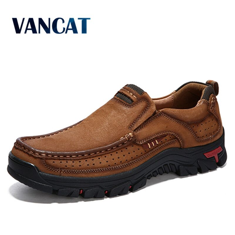 2020 New High Quality Men's Shoes 100% Genuine Leather Casual Shoes Waterproof Work Shoes Cow Leather Loafers Plus Size 38-48