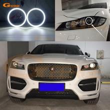 цена на For Jaguar F-Pace 2016 2017 xenon LED headlight Excellent led Angel Eyes Ultra bright illumination smd led Angel Eyes kit