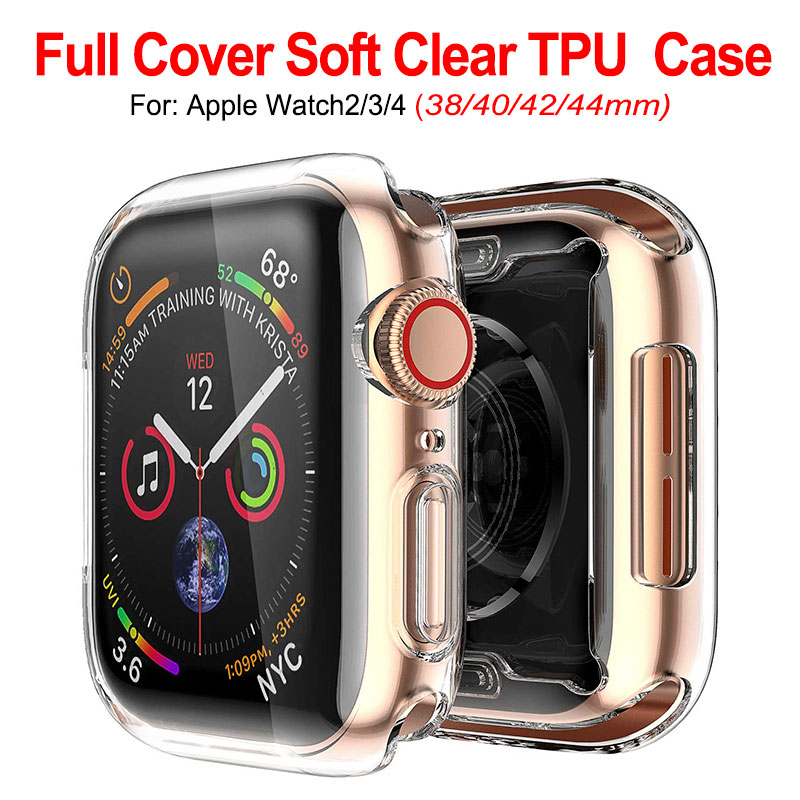 Soft Screen Protective Case For Apple Watch 2 3 4 Clear TPU Full Protection Cover 38MM 40MM 42MM 44MM Housing For IWatch