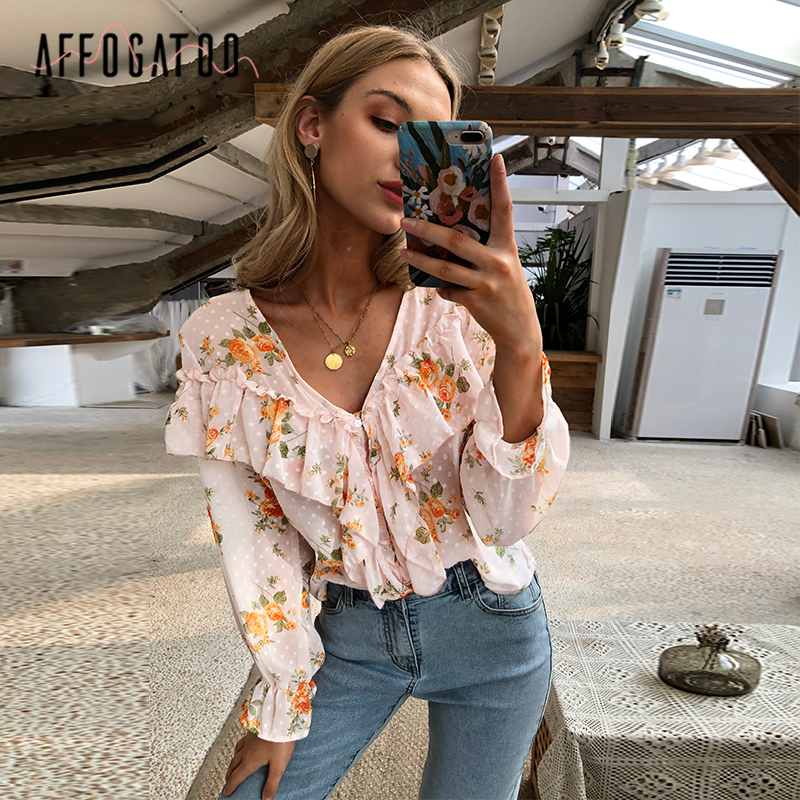 Affogatoo Elegant Ruffle Florl Print Pink Blouse Shirts Women Sexy V Neck Long Sleeve Blouses Shirts Casual Holiday Ladies Tops