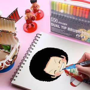 Акварельные кисти, ручки, художественные маркеры, тонкая кисть для подводки, двойной наконечник для взрослых и детей, книжка-раскраска, эски...
