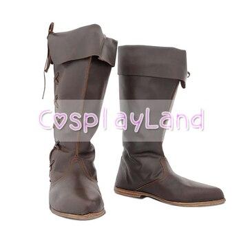 Botas de Caballero de caballero pirata vikingo renacentista, zapatos de cuero para hombre, accesorios para traje de zapatos, zapatos de fiesta de Halloween