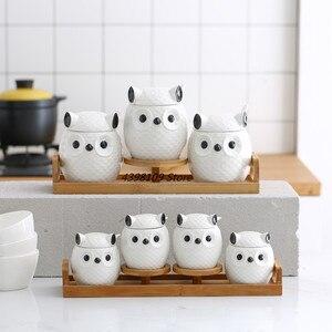 Tanque de almacenamiento de cerámica lindo búho sello latas té olla salero cocina herramientas para condimentar el tarro de condimento doméstico madera de bambú natural