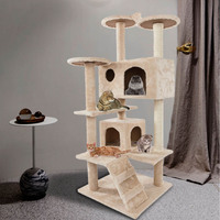 52 Cat Tower Entertainment Area 51 X 51 X 132cm Natural Sisal Rope Soft Plush Durable Cool Stylish Pet Climb Tree Toys Beige