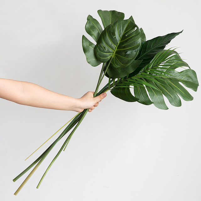 One Piece monstera artificial plants plastic tropical palm tree leaves home garden decoration accessories Photography Decorative 2