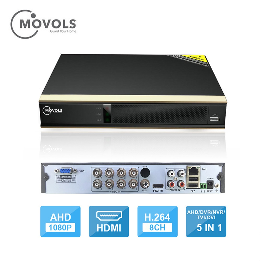 Movols 8CH 1080P H.264 AHD 5 IN1 DVR Digital Video Recorder For CCTV 1080P HDMI Video Output Support Analog AHD IP Camera