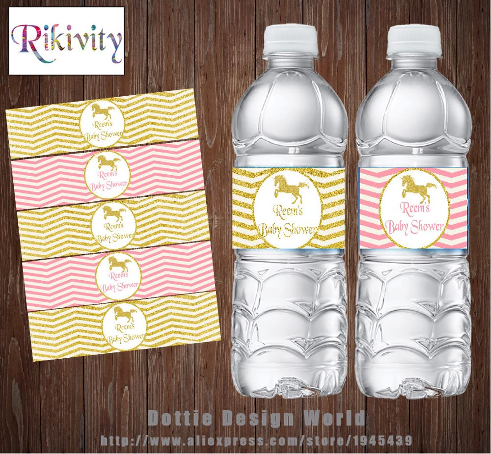 PERSONALISED BABY SHOWER WATER BOTTLE LABELS PARTY FAVOURS PINK WHITE GREY STIPE