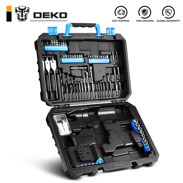 DEKO BMC Plastic Tool Case for 20V Cordless Drill GCD20DU3 with 85 Drill Bits Diver Bits Holder (not include GCD20DU3/battery)