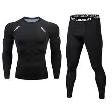 New Fitness Mens Set Pure Black Compression Top + Leggings Underwear Crossfit Long Sleeve + Short Sleeve T Shirt Apparel Set