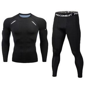 Image 1 - New Fitness Mens Set Pure Black Compression Top + Leggings Underwear Crossfit Long Sleeve + Short Sleeve T Shirt Apparel Set
