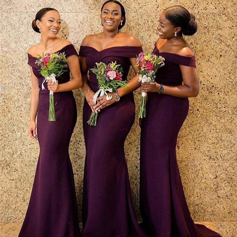 Purple Mermaid Bridesmaid Dresses 2020 African Women Wedding Guest Dress Long Satin Vestidos Sweep Train Prom Gown