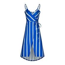 Women Summer  Boho Maxi Long Dresses Striped Halter Evening Party Beach Dress Sundress Irregular Bohemian Printed