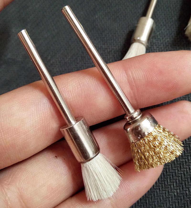 KIMAXCOLA 2 יח'\חבילה 3mm נחושת צמר מברשות עץ/ברזל אבק מנקה עבור Dremel רוטרי כלים/מיני מקדחה חשמלית