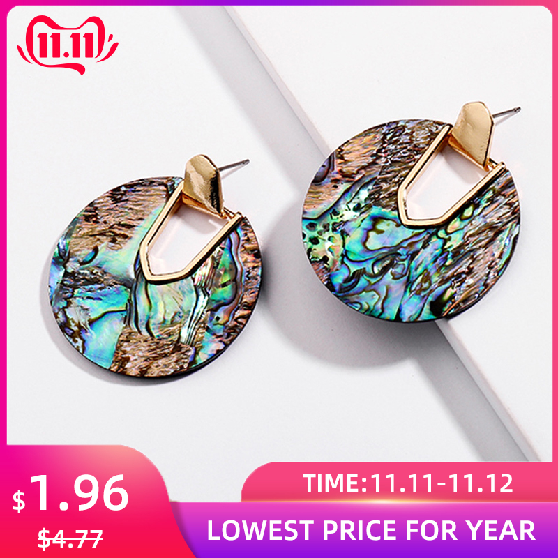 Colorful Resin Acrylic Round Circle Dangle Earrings for Women Unique Design U Shape Statement Earrings Wedding Brincos Jewelry