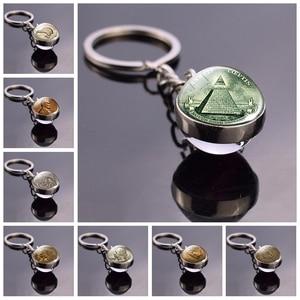 All Seeing Eye Key Chain Illuminati Dollar Bill Jewelry Pyramid Double Sided Glass Ball Keychain Coin Keys Fashion Accessories(China)