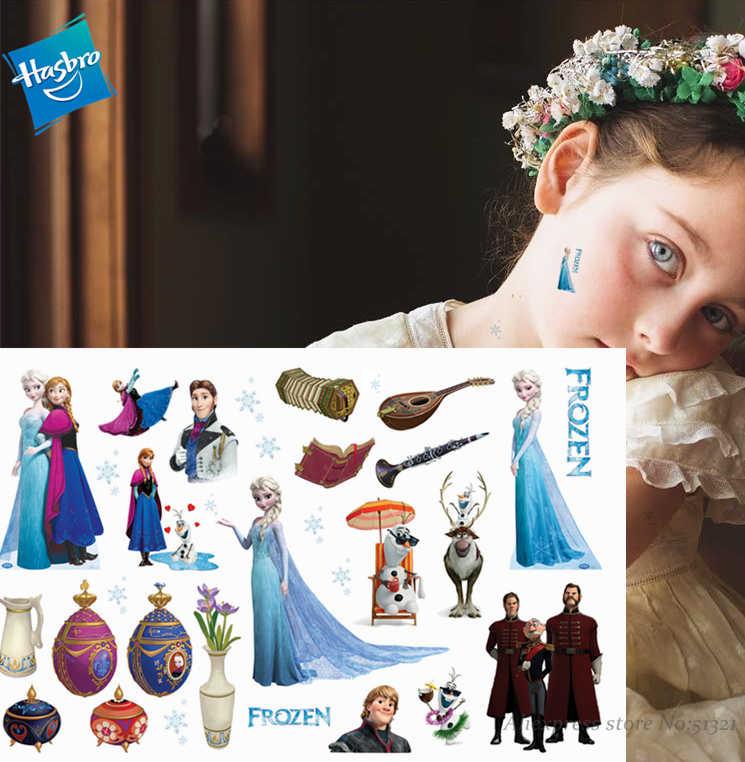 Hasbro Dondurulmuş Prenses Elsa Çocuk Karikatür Geçici Dövme Etiket Kız karikatür oyuncak Su Geçirmez Doğum Günü parti Kız Hediye