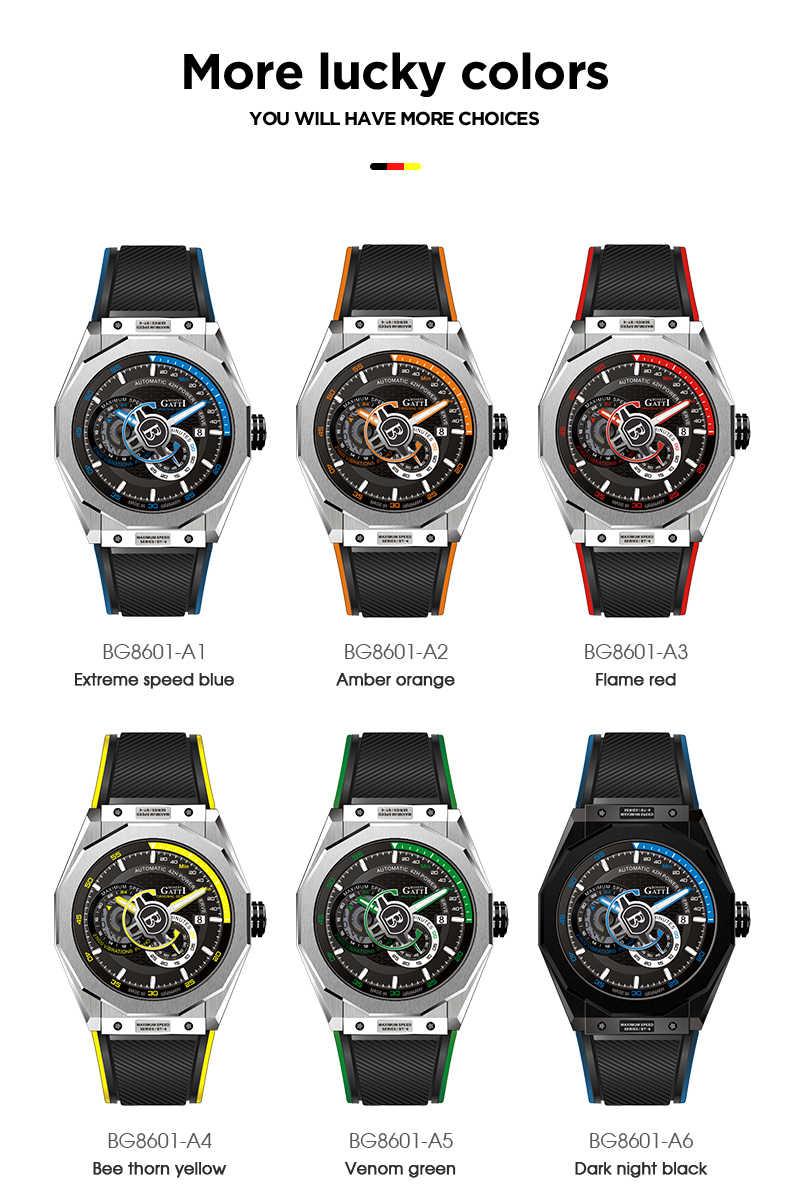 Automatische Mechanische Uhr Männer Top Marke GATTI Luxus Leder Herren Armbanduhren Wasserdichte Sport Blau Uhren Relogio Masculino