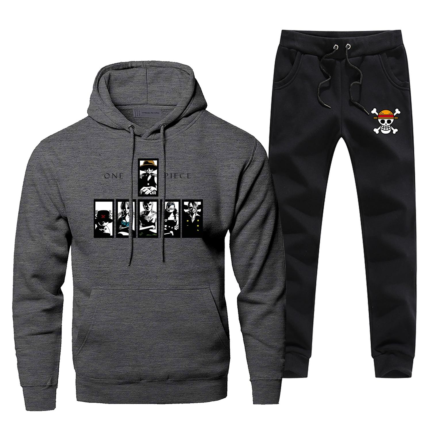 One Piece Japan Anime Hoodies Luffy The Straw Hat Pirates Sweatshirt Pants Sets Men Fleece Sportswear Sweatpants Streetwear