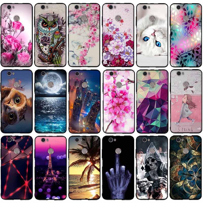 För Capa Huawei nova Väska För Huawei nova Skydd TPU Mjuk Silikon Svart telefonfodral för Coque Huawei nova CAN-L11 5.0 Bakomslag