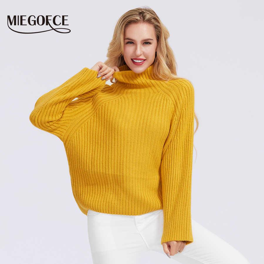 Miegofce 2019 feminino inverno outono semi-camisola feminina gola alta camisolas femininas de malha cor sólida 100% poliéster camisola
