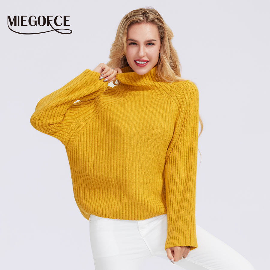 Miegofce 2019 Women's Winter Autumn Semi-sweater Women's High Collar Sweaters Female Knitted Solid Color 100% Polyester Sweater
