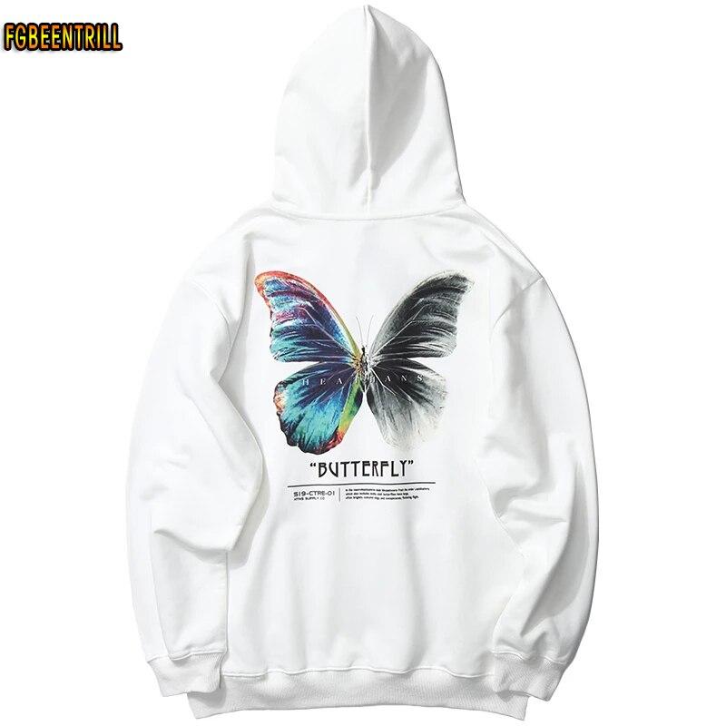 2021 Men Hip Hop Sweatshirt Hoodie Color Butterfly Streetwear Harajuku Pullover Hoodie Cotton Fleece Winter Autumn Black Hoodie